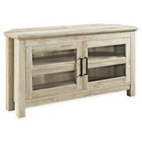 Forest Gate 44-Inch Logan Traditional Wood Corner TV Media Stand Storage Console in White Oak
