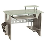 Techni Mobili Frosted Glass Top Computer Desk in Grey