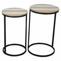 Coastal Living Round Nesting Tables in Grey (Set of 2)