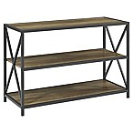 Forest Gate 40-Inch X-Frame Metal and Wood Bookshelf in Rustic Oak