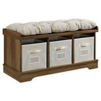 """Forest Gate 42"""" Contemporary Wood Storage Bench with Totes and Cushion in Rustic Oak"""