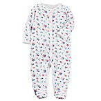 carter's® Size 3M Snap-Front Floral Sleep & Play Footie in White