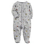 carter's® Size 3M Snap-Up Truck Sleep & Play Footie in Grey