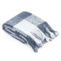 Brielle Faux Mohair Throw Blanket in Blue