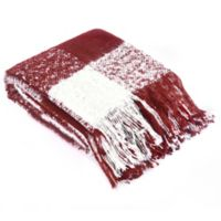 Brielle Faux Mohair Throw Blanket in Red