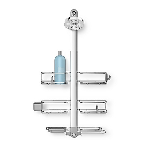 image of simplehuman® Stainless Steel XL Adjustable Shower Caddy