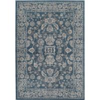 Rugs America Estelle 4' x 5'7 Area Rug in Blue/Ivory