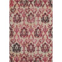 Rugs America Beverly Ikat Loomed 4' x 5'7 Accent Rug in Ivory/Fuchsia