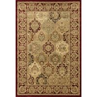 Rugs America New Vision Panel Berber 3'11 x 5'3 Area Rug in Red