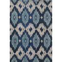 Rugs America Beverly Abstract Loomed 4' x 5'7 Accent Rug in Blue/Ivory