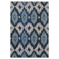 Rugs America Beverly Abstract Loomed 2'2 x 7'6 Accent Rug in Blue/Ivory