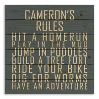 Designs Direct Boys' Rules Pallet Wooden Wall Art in Blue