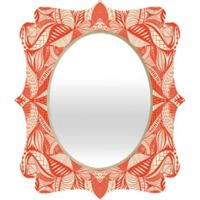 Deny Designs® Jenean Morrison 29-Inch x 22-Inch Oval Leave Me Be Quatrefoil Mirror in Red/Cream