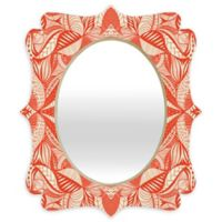 Deny Designs® Jenean Morrison 19-Inch x 14-Inch Oval Leave Me Be Quatrefoil Mirror in Red/Cream