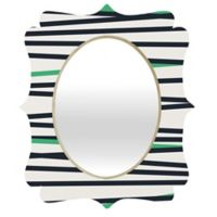 Deny Designs® Khristian A. Howell 19-Inch x 14-Inch Oval Crew Stripe Cool Mirror in Black/Green