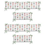 Sweet Jojo Designs Mod Arrow 4-Piece Crib Bumper Set in Coral/Mint