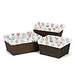 Sweet Jojo Designs Mod Arrow Basket Liners in Coral/Mint (Set of 3)