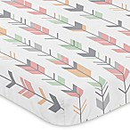 Sweet Jojo Designs Mod Arrow Mini-Crib Sheet in Coral/Mint