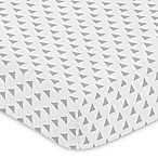 Sweet Jojo Designs Mod Arrow Triangle Print Fitted Crib Sheet in Grey/White