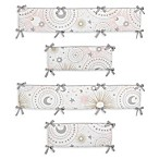 Sweet Jojo Designs Celestial 4-Piece Crib Bumper Set  in Pink/Gold