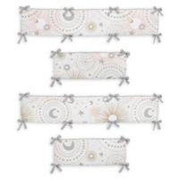 Sweet Jojo Designs Celestial 4-Piece Crib Bumper Set in Pink/Gold
