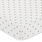 Sweet Jojo Designs Celestial Star Print Fitted Crib Sheet in Gold