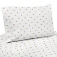 Sweet Jojo Designs Celestial Star Print 4-Piece Queen Sheet Set in Gold