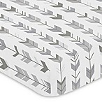 Sweet Jojo Designs Mod Arrow Print Fitted Crib Sheet in Grey