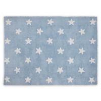 Lorena Canals Stars 4'x5' Washable Area Rug in Blue/White
