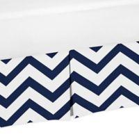 Sweet Jojo Designs Chevron Crib Skirt in Blue/White
