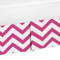 Sweet Jojo Designs Chevron Crib Skirt in Pink/White