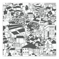 Eco Wallpaper Lissabon Village Motif Wallpaper in Black