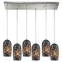 Elk Lighting Collage Group 6-Light Pendant in Satin Nickel with Multicolor Glass Shades