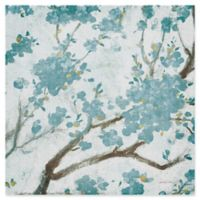 Trademark Fine Art Teal Cherry Blossoms I 24-Inch Square Canvas Wall Art