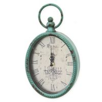 Stratton Home Decor 11.5-Inch x 6.75-Inch Antique Wall Clock in Teal