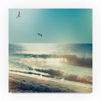 Trademark Fine Art Coastline Waves, No Words 14-Inch Square Canvas Wall Art