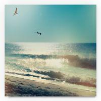 Trademark Fine Art Coastline Waves, No Words 18-Inch Square Canvas Wall Art