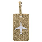 LOLO Airplane Luggage Tag in Gold Glitter