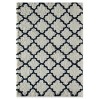 Rugs America Quatrefoil 2' x 4' Shag Accent Rug in Ivory/Navy