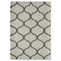 Rugs America Links 2'3 x 8' Shag Runner in Ivory/Charcoal