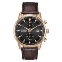 Citizen® Eco-Drive Corso Men's 42mm Chronograph Watch in Stainless Steel with Brown Strap