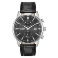 Citizen® Eco-Drive Corso Men's 42mm Chronograph Watch in Stainless Steel with Black Strap