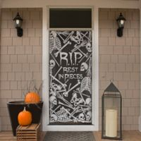 "Heritage Lace® Halloween Skeleton ""Rest in Pieces"" 76-Inch Window Curtain Panel in Pewter"