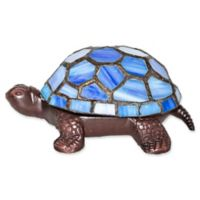 River of Goods Stained Glass LED Wireless Turtle Accent Lamp in Blue