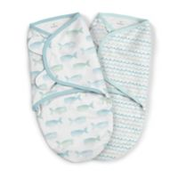SwaddleMe® Original Small/Medium Whales Organic Cotton 2-Pack Swaddles in Blue