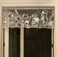 "Heritage Lace® Halloween Skeleton ""Rest in Pieces"" Window Valance in Pewter"