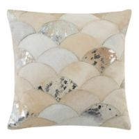 Safavieh Metallic Scale Cowhide 18-Inch Square Throw Pillow in White/Silver