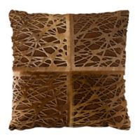 Safavieh Eccentric Cowhide 22-Inch Square Throw Pillow in Tan