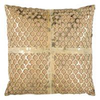 Safavieh Metallic Fin Cowhide 22-Inch Square Pillow in Beige/Gold
