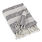Woven Stripe Throw Blanket in Grey